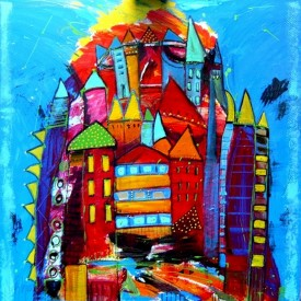 City in the mountain  100 x 100 cm € 1.100 –  Bij kunstuitleen Art Olive