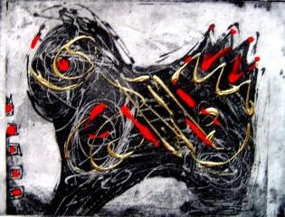 Happy horse ll Ets 18x15 cm € 150
