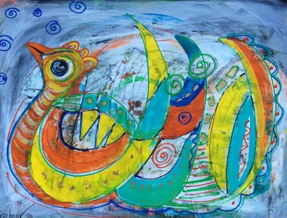 De Kip 80x60cm Op Canvas €575