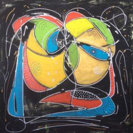 The embrace 100x100cm Op Canvas €975