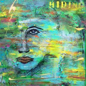 Hiding 40×40 cm Op Canvas (Verkocht)